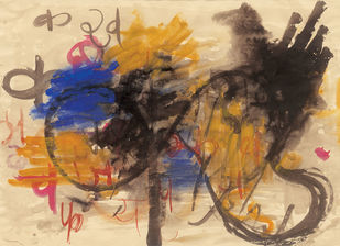 Configuration by Ratan Parimoo, Abstract Painting, Watercolor on Paper, Thunder color