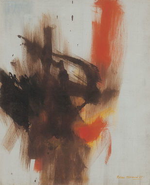 Configuration by Ratan Parimoo, Abstract Painting, Oil on Canvas, Taupe color