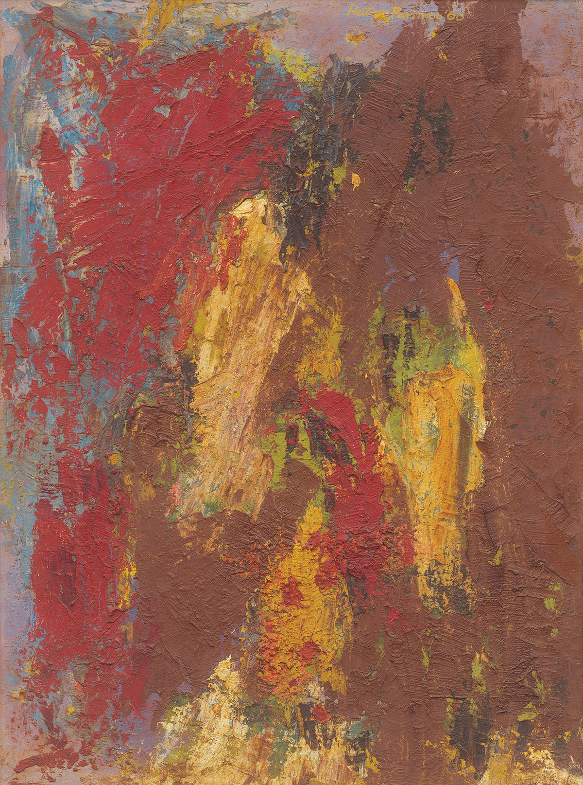 Composition by Ratan Parimoo, Abstract Painting, Mixed Media on Board, Spicy Mix color
