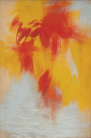 Composition by Ratan Parimoo, Abstract Painting, Oil on Canvas, Mist Gray color