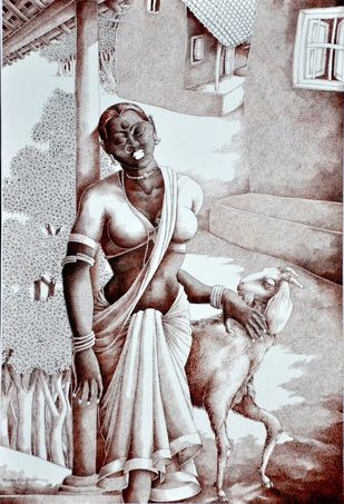 Lady with lamb II by Bairu Raghuram, Folk, Illustration Painting, Pen on Paper, Silver color