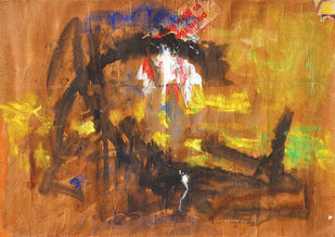 Composition 3 by Ratan Parimoo, Abstract Painting, Mixed Media on Paper, Copper color