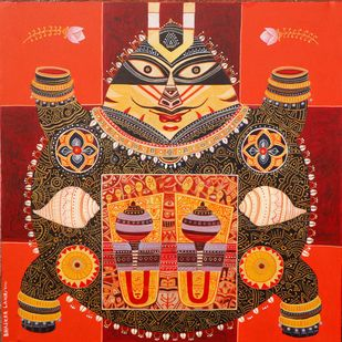 Kurmavatar by Bhaskar Lahiri, Conceptual Painting, Acrylic on Canvas, Cork color