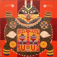 Kurmavatar by Bhaskar Lahiri, Conceptual Painting, Acrylic on Canvas, Cork color