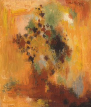 Composition by Ratan Parimoo, Abstract Painting, Mixed Media on Canvas, Raw Sienna color