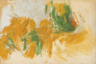 Composition by Ratan Parimoo, Abstract Painting, Mixed Media on Canvas, Sapling color