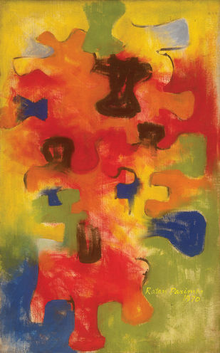 Biomorphic Forms by Ratan Parimoo, Abstract Painting, Oil on Canvas, Brandy Punch color