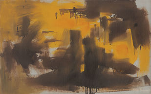 Composition by Ratan Parimoo, Abstract Painting, Oil on Canvas, Kabul color
