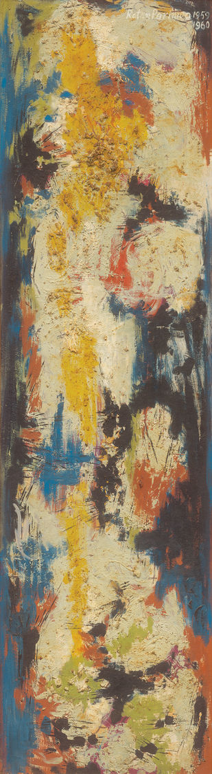 Composition by Ratan Parimoo, Abstract Painting, Mixed Media on Board, Misty Moss color