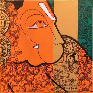 Hanuman by Ramesh Gorjala, Traditional Painting, Mixed Media on Canvas, English Walnut color