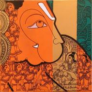 Hanuman by Ramesh Gorjala, Traditional Painting, Mixed Media on Canvas, English Walnut color