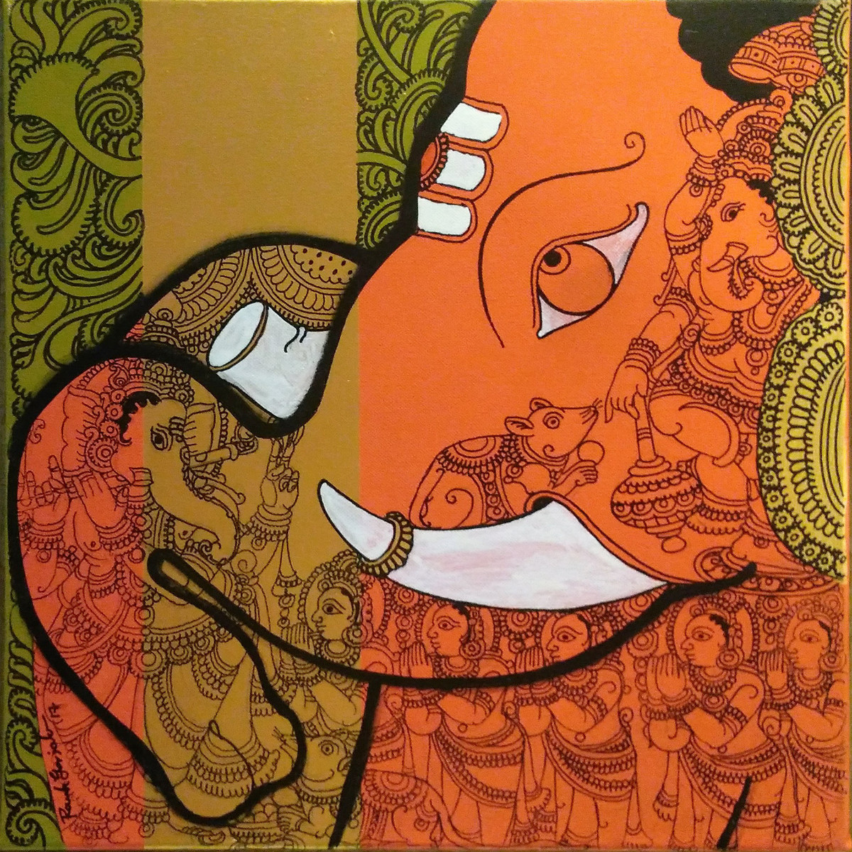 Untitled by Ramesh Gorjala, Decorative, Expressionism Painting, Mixed Media on Canvas, Copper color