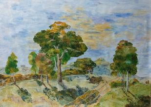 Mountain Trees by Binu K V, Impressionism Painting, Acrylic on Canvas, Lemon Grass color
