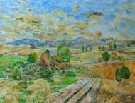Mountain Path. by Binu K V, Impressionism Painting, Acrylic on Canvas, Battleship Gray color