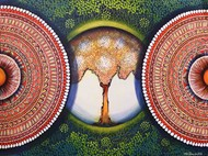 MANDALA- EXPANSION BEYOND DIMENSION by NITU CHHAJER, Decorative Painting, Acrylic on Canvas, Spicy Mix color
