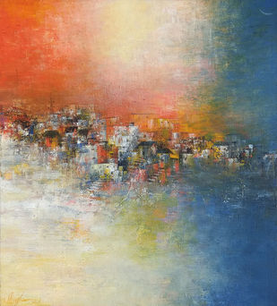 Distance view by M Singh, Abstract Painting, Acrylic on Canvas, Coral Reef color