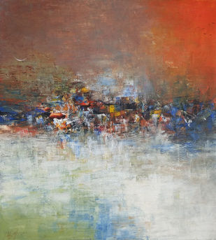 Distance view by M Singh, Abstract Painting, Acrylic on Canvas, Leather color