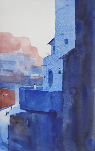 Play in blue by Prashant Prabhu, Conceptual, Illustration Painting, Watercolor on Paper, East Bay color