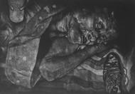 helplessly living on railway bridge by Tarun Sharma, Conceptual Printmaking, Intaglio on Paper, Mine Shaft color