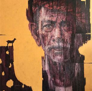 Desolate II by Susanta Das, Expressionism Painting, Acrylic on Canvas, Porsche color