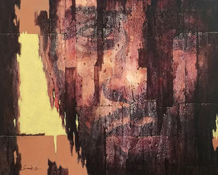 Desolate III by Susanta Das, Expressionism Painting, Acrylic on Canvas, Whiskey color