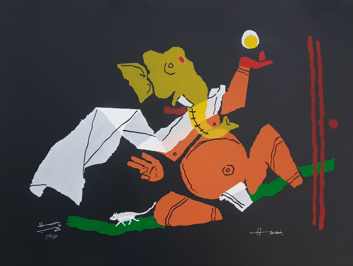 Ganesh by M F Husain, Expressionism Serigraph, Serigraph on Paper, Antique Brass color