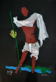 Gandhi by M F Husain, Abstract, Cubism Serigraph, Serigraph on Paper, Heavy Metal color