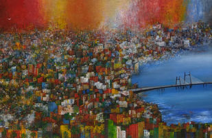 My Dream City by M Singh, Abstract Painting, Acrylic on Canvas, Kabul color