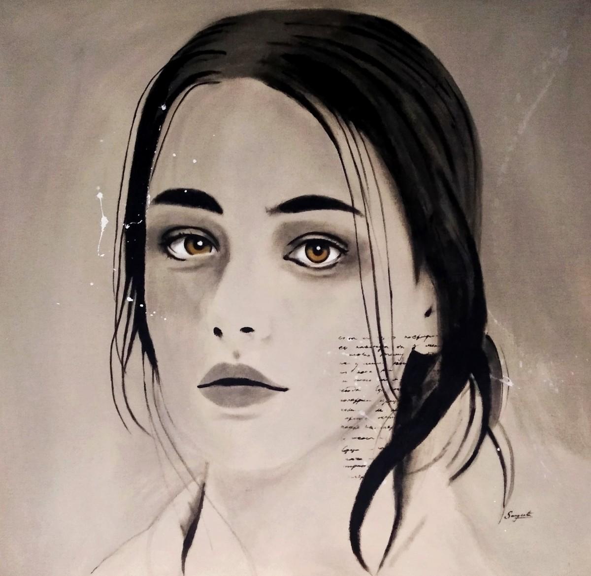 Sad Birds Still Sing by Sangeeta Jaiswal, Impressionism Painting, Acrylic on Canvas, Thatch color