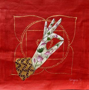 Root Chakra Mudra by Kangana Vohra , Decorative, Fantasy, Traditional Painting, Acrylic on Canvas, Tamarillo color