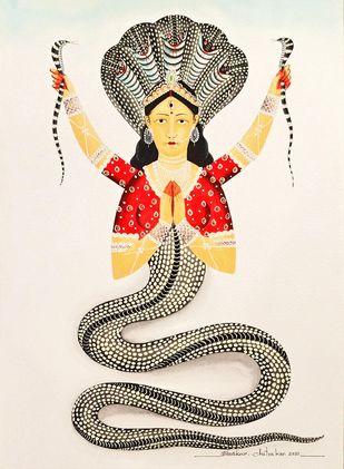 NaagKanya by Bhaskar Chitrakar, Folk Painting, Natural colours on paper, Birch color
