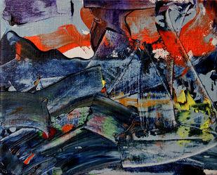 Angry Lake by Mahvash Masood, Abstract Painting, Acrylic on Canvas, Ebony Clay color