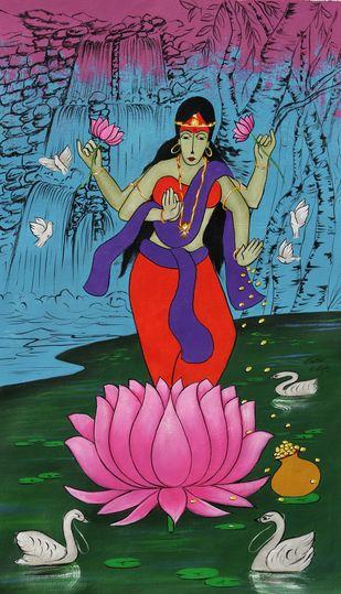 Dhan Laxmi by Chetan Katigar, Conceptual Painting, Acrylic on Canvas, Cinnamon Satin color