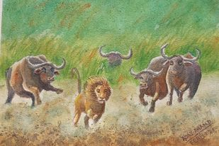 Counter Attack by Ajay Anand, Decorative Painting, Watercolor on Paper,