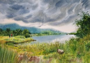 Rain Is About To Come by Niketan Bhalerao, Illustration Painting, Watercolor on Paper, Stack color