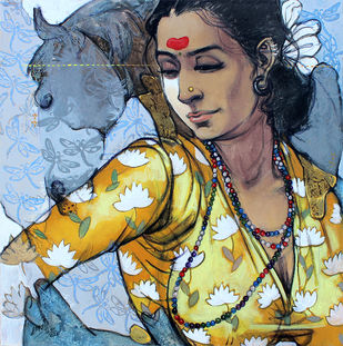 beauty with horse by Ramchandra Kharatmal, Conceptual, Decorative Painting, Acrylic & Graphite on Canvas, Submarine color