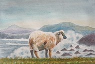 Sheep and Waves by Ajay Anand, Impressionism Painting, Watercolor on Paper, Edward color