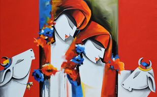 love song 3 by pradeesh k raman, Decorative Painting, Acrylic on Canvas, Thunderbird color