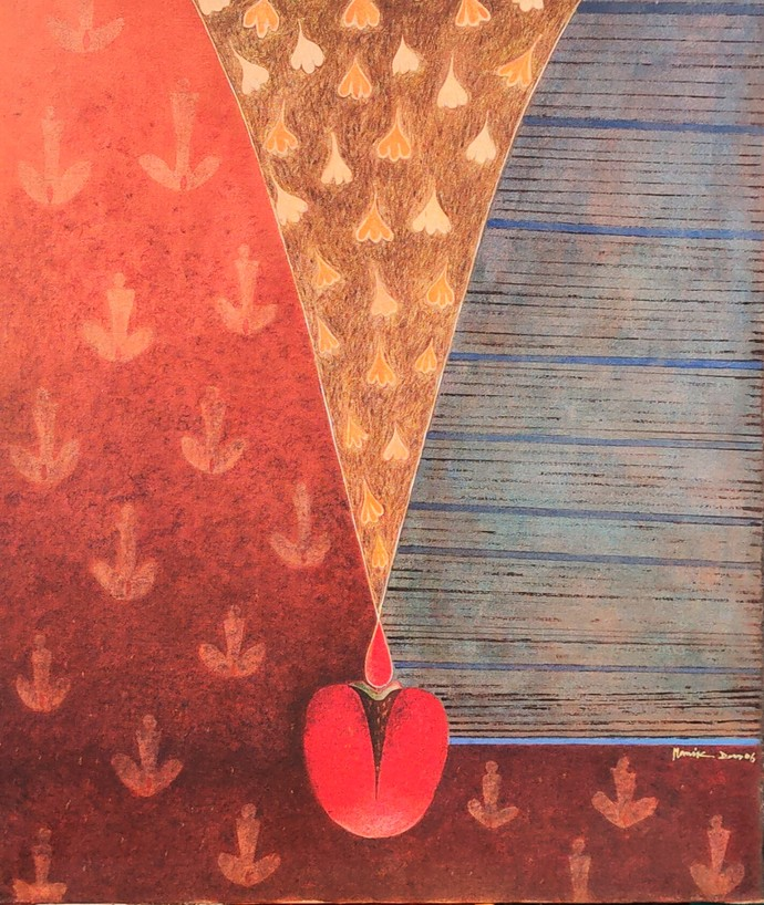 REALATION by manik das, Decorative Painting, Acrylic on Canvas, Chestnut color
