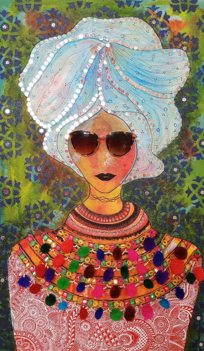 Urban Chic by Anissha Deshpande, Decorative, Fantasy, Pop Art Painting, Acrylic on Canvas, Shadow color