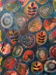 Sea Blue by Anissha Deshpande, Abstract, Decorative, Illustration Painting, Acrylic on Canvas, Tundora color