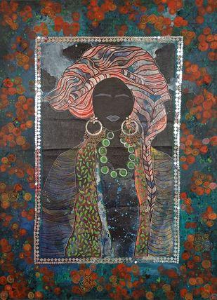 Yashika by Anissha Deshpande, Abstract, Decorative, Fantasy Painting, Acrylic on Canvas, Masala color