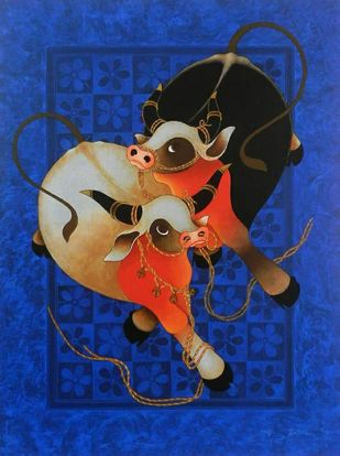 Love n Affection by H R Das, Conceptual Painting, Acrylic on Canvas, Jacksons Purple color