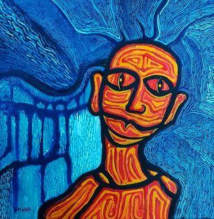 Trip Hop by Srishti Bansal, Expressionism Painting, Acrylic on Canvas, Tuscany color