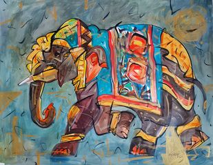 The elephant of spring. by Ajin K Kooper , Illustration Painting, Watercolor & Ink on Paper, Sirocco color
