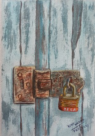 Rusted Lock on Old Door by Ajay Anand, Illustration Painting, Watercolor on Paper, Edward color