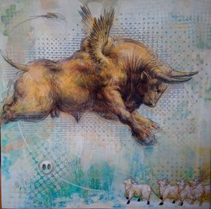 Bull relation 1 by Saumya Bandyopadhyay, Illustration, Impressionism Painting, Mixed Media on Canvas, Oslo Gray color