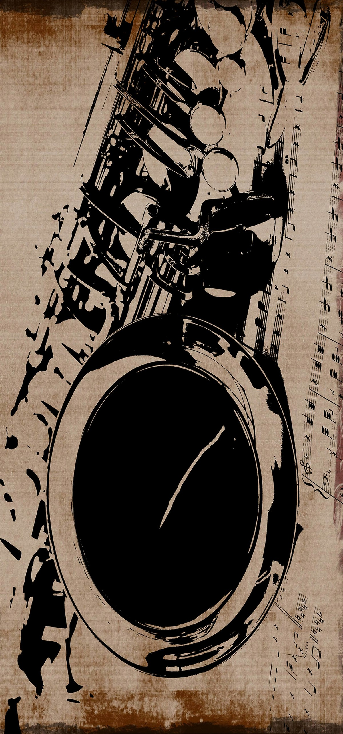 Saxophone - I - Limited Edition of 5 by Mayurakshi, Digital Painting, Mixed Media on Canvas, Licorice color