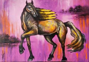 untitled by Anand Dharmadhikari, Conceptual, Illustration Painting, Acrylic on Canvas, Pearly Purple color