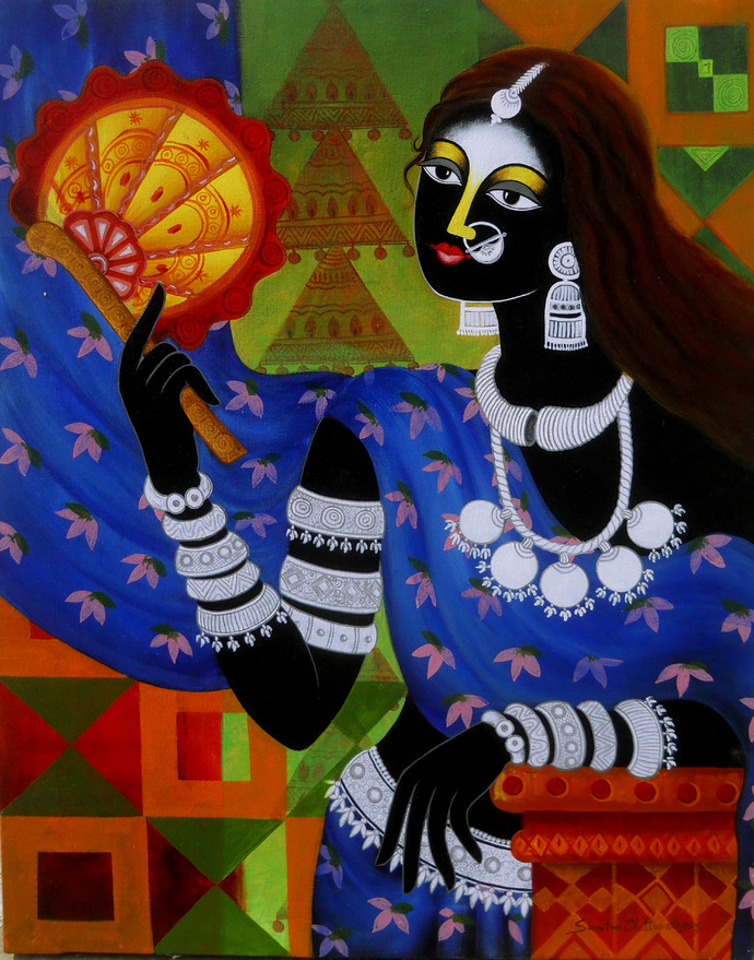 Rest by Sumitra Chattopadhyay, Decorative, Expressionism Painting, Acrylic on Canvas, Chocolate color